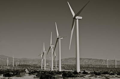 Palm Springs Windmills I In B And W Poster