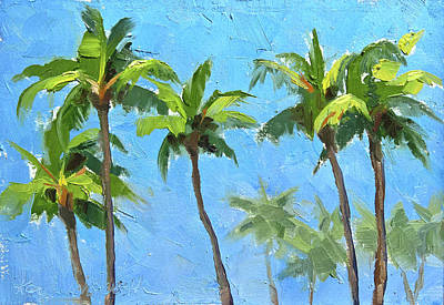 Poster featuring the painting Palm Tree Plein Air Painting by Karen Whitworth