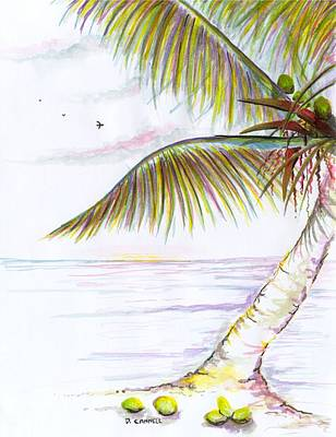 Poster featuring the digital art Palm Tree Study Three by Darren Cannell