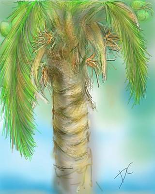 Poster featuring the digital art Palm Tree Study Two by Darren Cannell