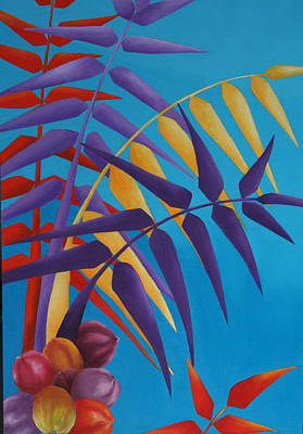 Poster featuring the painting Palm Tree With Coconuts 1 by Karin Eisermann