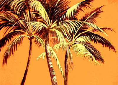 Palm Trees In Sepia Poster