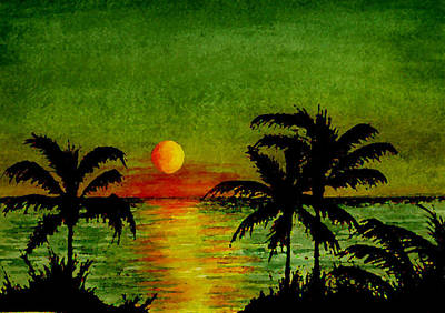 Palm Trees Setting Sun Poster by Michael Vigliotti