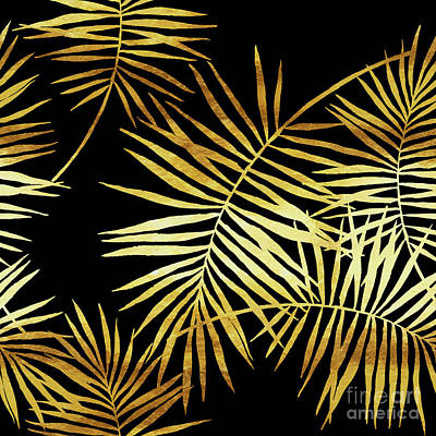 Palmes Dor Noir Golden Palm Fronds And Leaves Poster by Tina Lavoie