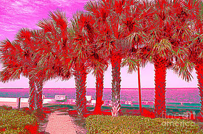 Palms In Red Poster