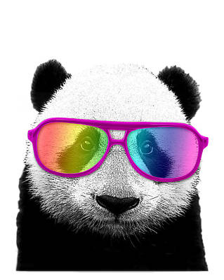 Panda Bear With Rainbow Glasses Poster by Madame Memento