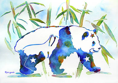 Panda Bear With Stars In Blue Poster