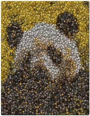 Poster featuring the digital art Panda Coin Mosaic by Paul Van Scott