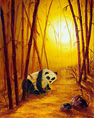 Panda In Sunset Bamboo Poster by Laura Iverson