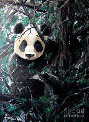 Panda In Tree Poster by Nick Gustafson