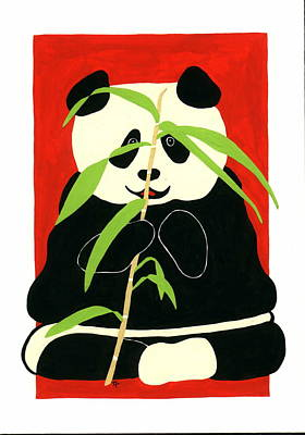 Poster featuring the painting Panda With Bamboo by Terry Taylor