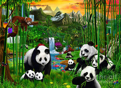 Panda's Paradise Poster by Gerald Newton