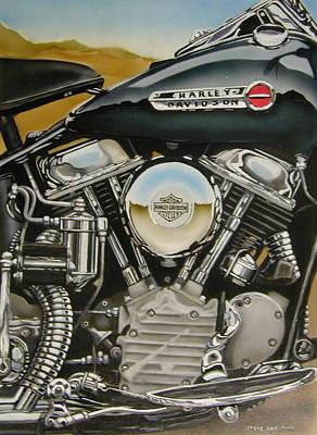 Panhead Harley Davidson Engine Poster by Steve Aho