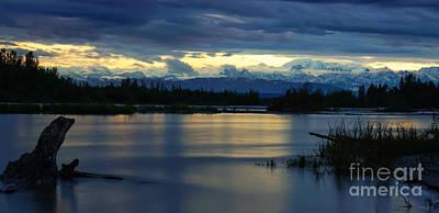 Pano Alaska Midnight Sunset Poster