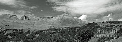Panorama Alps Switzerland In Black And White Poster