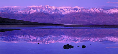 Poster featuring the photograph Panorama Badwater And The Panamint Range At Sunrise Death Valley by Dave Welling