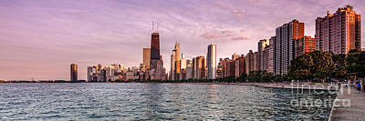Panorama Of Chicago From North Avenue Beach Lincoln Park - Chicago Illinois Poster