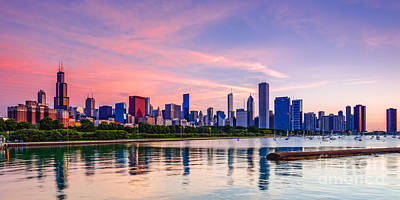 Panorama Of Chicago Skyline From Shedd Aquarium - Chicago Illinois Poster by Silvio Ligutti