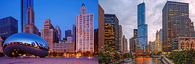 Panorama Of Cloudgate And Chicago River - Chicago Illinois Poster by Silvio Ligutti