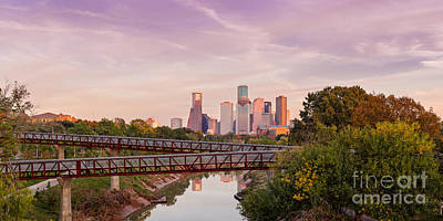 Panorama Of Downtown Houston Skyline From Studemont Drive - Buffalo Bayou Park Houston Texas Poster by Silvio Ligutti