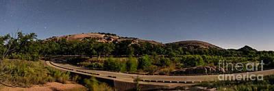 Panorama Of Enchanted Rock At Night - Starry Night Texas Hill Country Fredericksburg Llano Poster