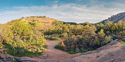Panorama Of Enchanted Rock State Natural Area Freshman Mountain Turkey Peak - Texas Hill Country Poster by Silvio Ligutti