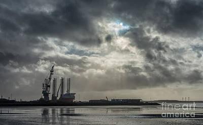 Panorama Of Esbjerg Oil Harbor With Rig Denmark Poster by Frank Bach