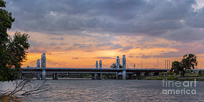 Panorama Of I-35 Jack Kultgen Highway Bridges At Sunset From The Brazos Riverwalk - Waco Texas Poster