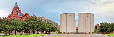 Panorama Of Old Red Museum And Jfk Memorial In Downtown Dallas - West End Historic District - Texas Poster by Silvio Ligutti