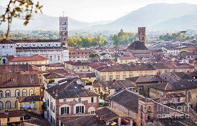 Poster featuring the photograph panorama of old town Lucca, Italy by Ariadna De Raadt