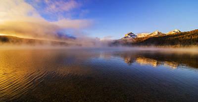 Panorama Of Redfish Lake Sunrise In Stanley Idaho Usa Poster