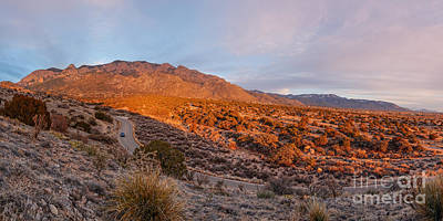 Panorama Of Sandia Mountains At Sunset - Albuquerque New Mexico Poster by Silvio Ligutti