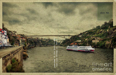 Poster featuring the digital art panorama of the Douro river, Dom Luiz Bridge of  Porto, Portugal by Ariadna De Raadt