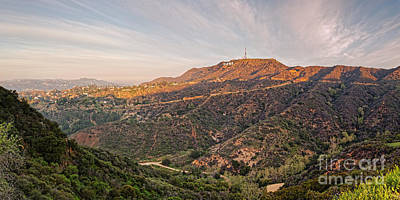 Panorama Of The Hollywood Hills And Sign - Los Angeles California Poster by Silvio Ligutti