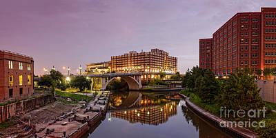 Panorama Of University Of Houston Downtown At Twilight - Reflection On Buffalo Bayou - Houston Texas Poster by Silvio Ligutti