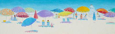 Panorama Painting Of Main Beach East Hampton Poster by Jan Matson