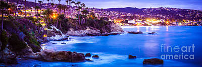 Panorama Picture Of Laguna Beach City At Night Poster by Paul Velgos