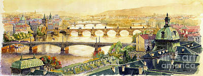 Panorama Prague Briges Poster by Yuriy  Shevchuk