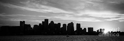 Panoramic Boston Skyline Black And White Photo Poster