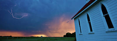 Panoramic Lightning Storm And Church Poster