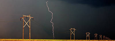 Panoramic Lightning Storm And Power Poles Poster by Mark Duffy