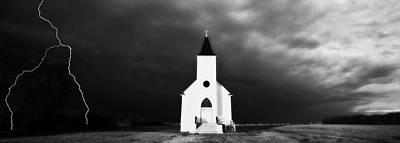 Panoramic Lightning Storm And Prairie Church 2 Poster