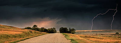 Panoramic Lightning Storm In The Prairie Poster