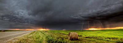 Panoramic Lightning Storm In The Prairies Poster