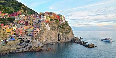 Poster featuring the photograph Panoramic Manarola Seascape by Frozen in Time Fine Art Photography
