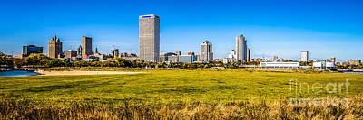 Panoramic Photo Of Milwaukee Skyline At Lakeshore State Park Poster