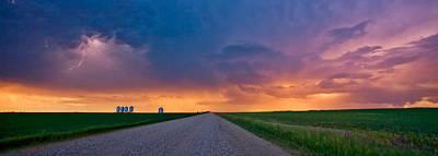 Panoramic Prairie Lightning Storm Poster
