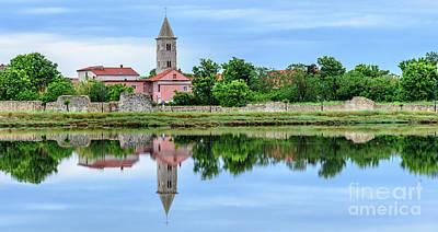 Panoramic Reflections Of Nin, Croatia Poster