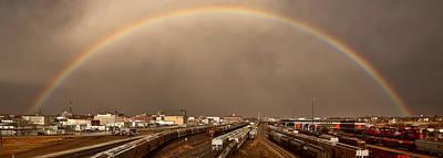 Panoramic Train Yard Storm Poster