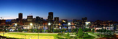 Panoramic View Of Baltimore Beach And Inner Harbor At Twilight Poster